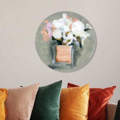 Oliver Gal 'L'Eau de Rose Round' Fashion and Glam Round Circle Acrylic Wall Art - Orange, White