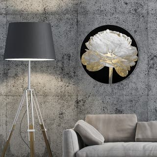 Oliver Gal 'Gold and Light Floral II Round' Floral and Botanical Round Circle Acrylic Wall Art - White, Gold