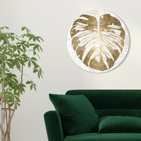 Oliver Gal 'Monstera Gold Leaf Round' Floral and Botanical Round Circle Acrylic Wall Art - Gold, White