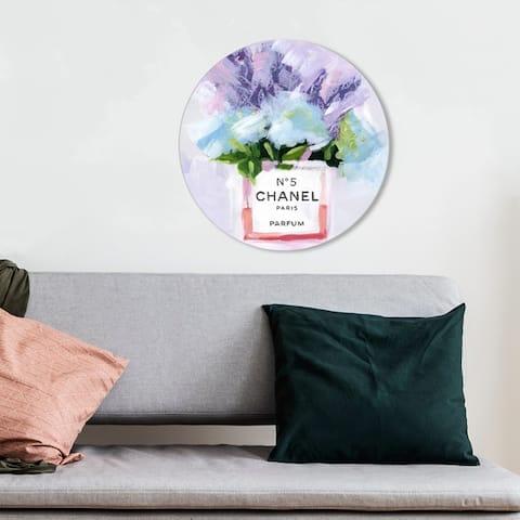 Oliver Gal 'Paris N5 Round' Fashion and Glam Round Circle Acrylic Wall Art - Purple, Blue