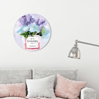 Oliver Gal 'Paris N5 Round' Fashion and Glam Round Circle Acrylic Wall Art - Purple, Blue