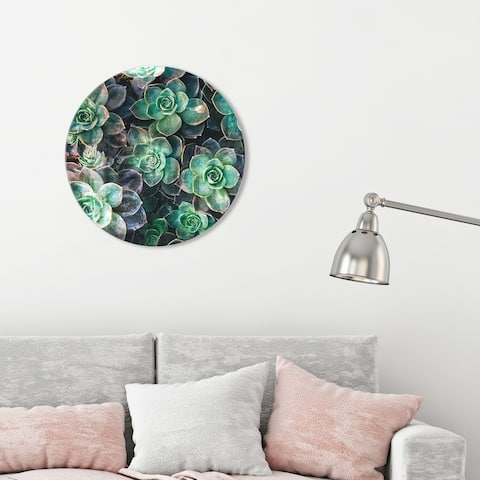 Oliver Gal 'Suculents Circle' Floral and Botanical Round Circle Acrylic Wall Art - Green, Brown