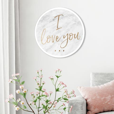 Oliver Gal 'I Love You Moon Marble' Typography and Quotes Round Circle Acrylic Wall Art - Gold, White