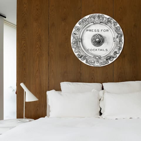 Oliver Gal 'Press For Cocktails Round' Drinks and Spirits Round Circle Acrylic Wall Art - Gray, Black