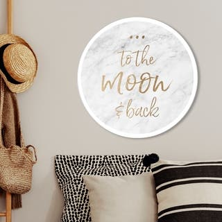 Oliver Gal 'To the Moon Marble' Typography and Quotes Round Circle Acrylic Wall Art - Gold, Gray