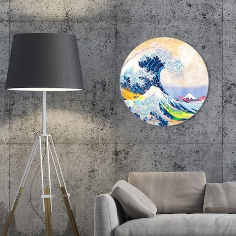 Oliver Gal 'Sai - Colorful Wave 3EH3034 ROUND' Nautical and Coastal Round Circle Acrylic Wall Art - Blue, White