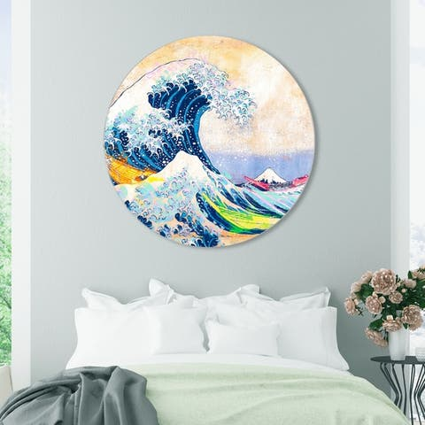 Oliver Gal 'Sai - Colorful Wave 3EH3034 ROUND' Nautical and Coastal Round Circle Acrylic Wall Art - Blue, White