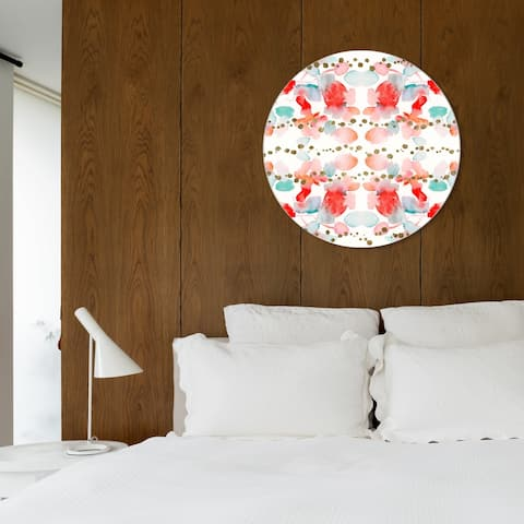 Oliver Gal 'Julianne Taylor - Red Passion Gold ROUND' World and Countries Round Circle Acrylic Wall Art - Red, White
