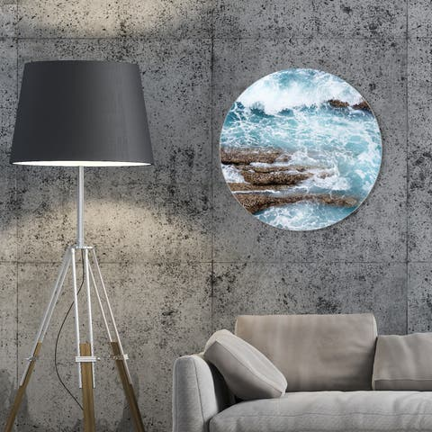 Oliver Gal 'Azur Water Round' Nautical and Coastal Round Circle Acrylic Wall Art - Blue, Brown