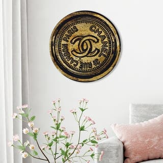 Oliver Gal 'Rue Cambon Round' Fashion and Glam Round Circle Acrylic Wall Art - Gold, Black