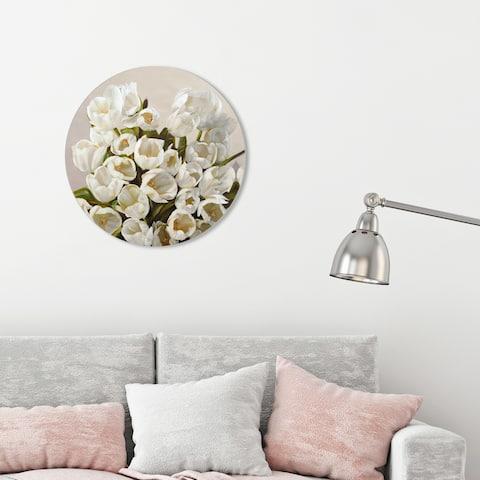 Oliver Gal 'Sai - Elegant Tulips 3LN792 ROUND' Floral and Botanical Round Circle Acrylic Wall Art - White, Green