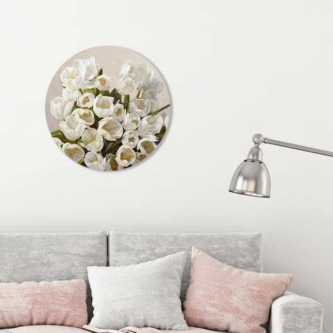 Oliver Gal 'Sai - Elegant Tulips 3LN792 ROUND' Floral and Botanical Round Circle Acrylic Wall Art - White, Green