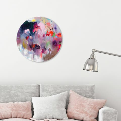 Oliver Gal 'Michaela Nessim - Take back the stars ROUND' Abstract Round Circle Acrylic Wall Art - Pink, Black