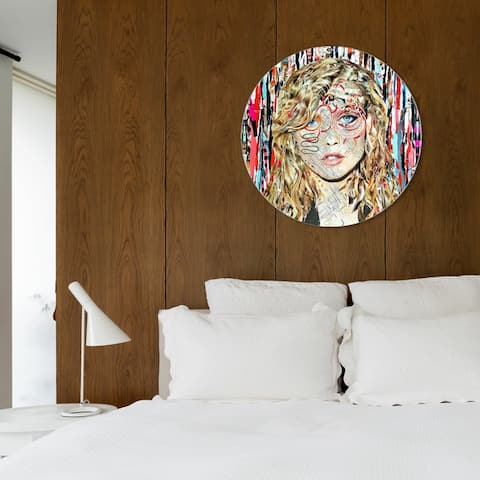Oliver Gal 'Katy Hirschfeld - Blondie ROUND' Fashion and Glam Round Circle Acrylic Wall Art - Brown, Red
