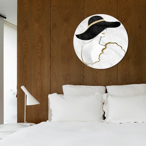 Oliver Gal 'Gill Bay - Black and Gold Pouder ROUND' Fashion and Glam Round Circle Acrylic Wall Art - White, Gold
