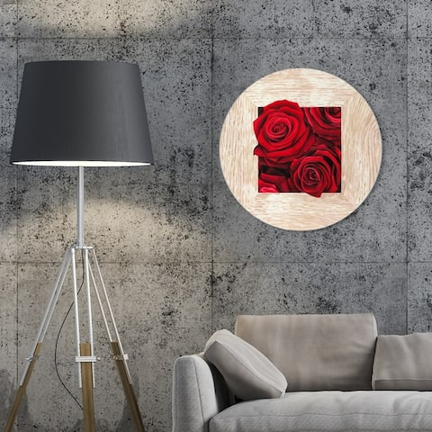 Oliver Gal 'Sai - Crescit Lilium 1BN1369 ROUND' Floral and Botanical Round Circle Acrylic Wall Art - Red, Brown