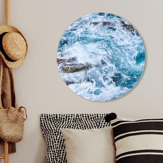 Oliver Gal 'Mermaid Water Round' Nautical and Coastal Round Circle Acrylic Wall Art - Blue, Brown