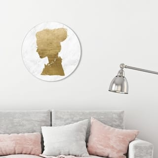 Oliver Gal 'Marble Romantic Thoughts Round' Fashion and Glam Round Circle Acrylic Wall Art - Gold, White