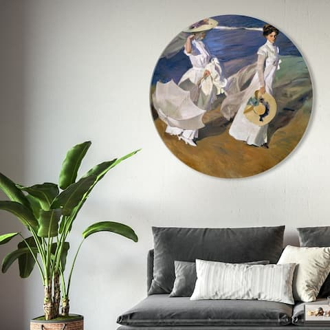 Oliver Gal 'Sai - Elegans Mariae 1AA1968 ROUND' Fashion and Glam Round Circle Acrylic Wall Art - White, Blue