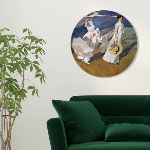 Oliver Gal 'Sai - Elegans Mariae 1AA1968 ROUND' Fashion and Glam Round Circle Acrylic Wall Art - White, Blue