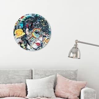 Oliver Gal 'Katy Hirschfeld - Yellow Bullet ROUND' Fashion and Glam Round Circle Acrylic Wall Art - Blue, Black