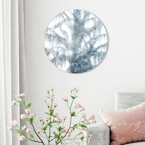 Oliver Gal 'Celery Jones - Ghost Moss ROUND' Floral and Botanical Round Circle Acrylic Wall Art - Gray, White