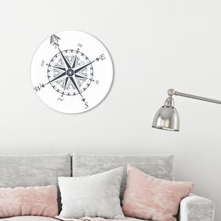 Oliver Gal 'Nautical Compass' Nautical and Coastal Round Circle Acrylic Wall Art - Blue, White