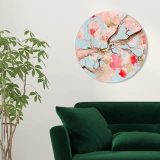 Oliver Gal 'Julianne Taylor - Under The Blossoms ROUND' Floral and Botanical Round Circle Acrylic Wall Art - Orange, Blue