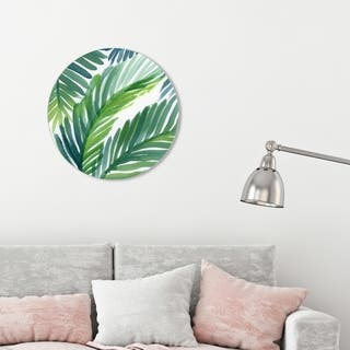 Oliver Gal 'Hojas de Palma Round' Floral and Botanical Round Circle Acrylic Wall Art - Green, White