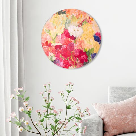 Oliver Gal 'Claire Sower - Tuppence a Bunch ROUND' Abstract Round Circle Acrylic Wall Art - Yellow, Pink
