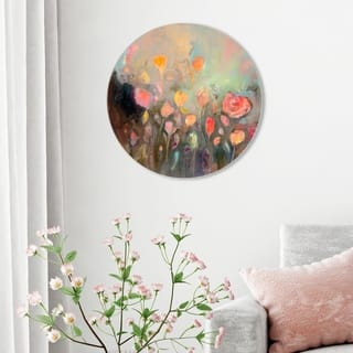 Oliver Gal 'Michaela Nessim - Eternal State of Mind ROUND' Abstract Round Circle Acrylic Wall Art - Orange, Green