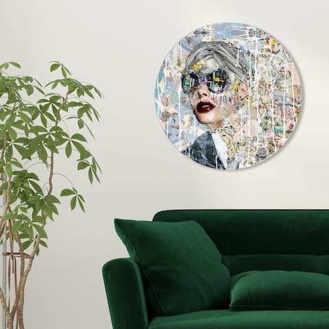 Oliver Gal 'Katy Hirschfeld - Galaxy ROUND' Fashion and Glam Round Circle Acrylic Wall Art - Gray, White