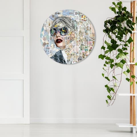 Oliver Gal 'Katy Hirschfeld - Galaxy ROUND' Fashion and Glam Round Circle Acrylic Wall Art - Gray, White
