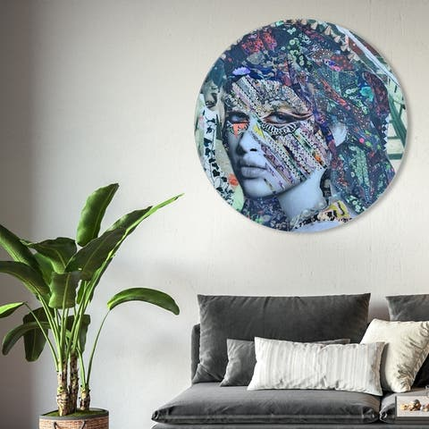 Oliver Gal 'Katy Hirschfeld - Fay ROUND' Fashion and Glam Round Circle Acrylic Wall Art - Gray, Blue