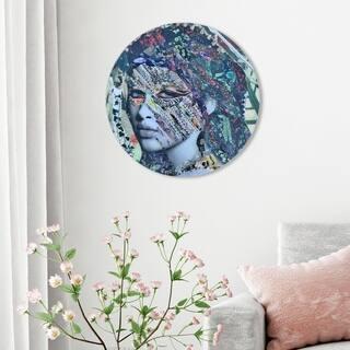 Oliver Gal 'Katy Hirschfeld - Fay ROUND' Fashion and Glam Round Circle Acrylic Wall Art - Gray, Blue