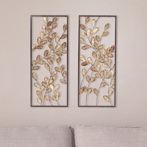 Benjen Transitional Gold Metal Leaves Wall Decor