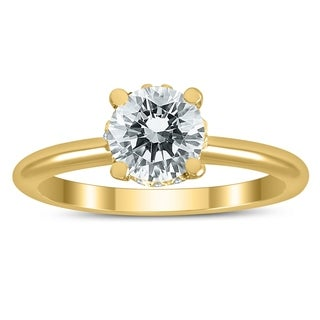 AGS Certified Diamond Solitaire Crown Ring in 14K Yellow Gold with Side Profile Diamonds