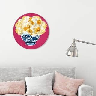 Oliver Gal 'Julianne Taylor Style - Blue and Yellow Vase Magenta' World and Countries Round Circle Acrylic Wall Art