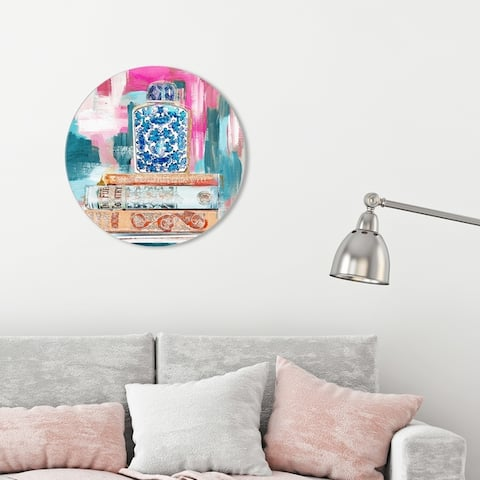 Oliver Gal 'Julianne Taylor - Vintage Collection Books Sorbet' World and Countries Round Circle Acrylic Wall Art - Blue, Pink