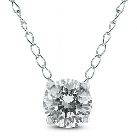 AGS Certified 3/4 Carat Floating Round Diamond Solitaire Necklace in 14K White Gold