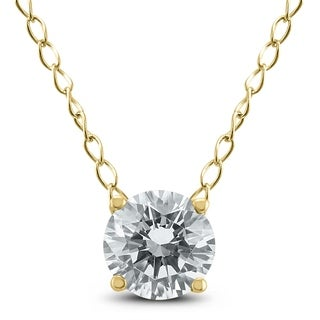 1 3 Carat Floating Round Diamond Solitaire Necklace In 14K Yellow Gold