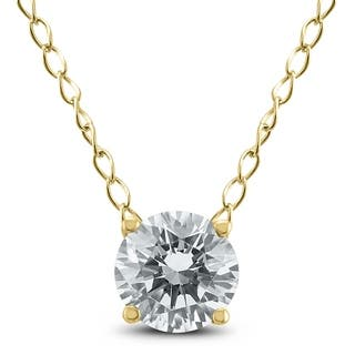 1/3 Carat Floating Round Diamond Solitaire Necklace in 14k Yellow Gold