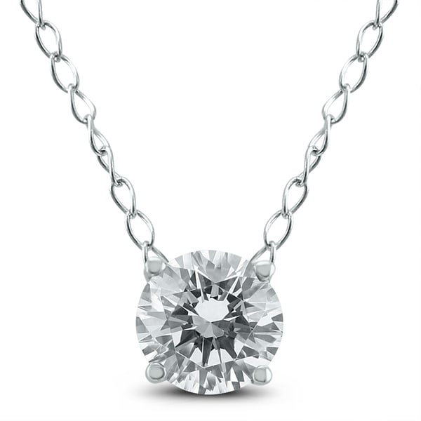 1//3 ct Round Solitaire Natural Diamond Pendant With Necklace 14K White Gold