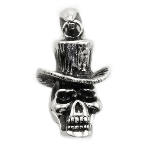 James Cavolini Stainless Steel Skull Head Pendant Necklace