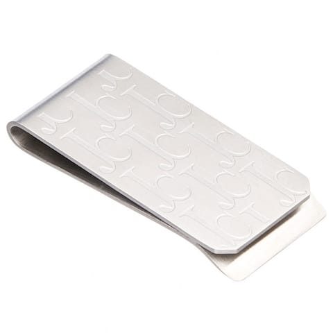 James Cavolini Stainless Steel 'JC' Engraved Money Clip - White