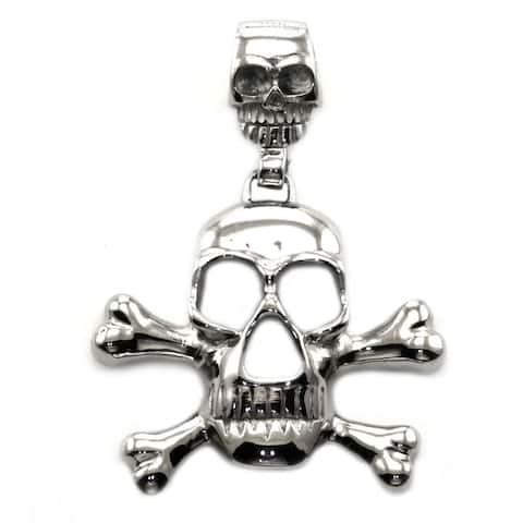 James Cavolini Stainless Steel Flat Skull Pendant Necklace - White