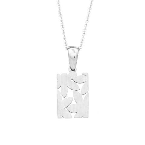 James Cavolini Stainless Steel Floral Pendant Necklace - White