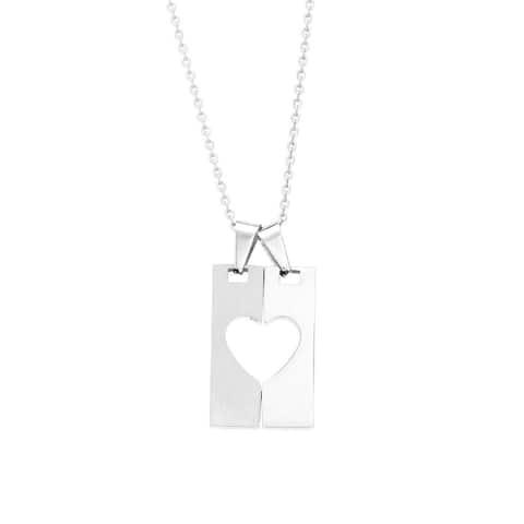 James Cavolini Stainless Steel Heart Lock Pendant Necklace - White