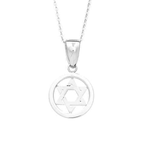 James Cavolini Stainless Steel Star of David Pendant Necklace - White