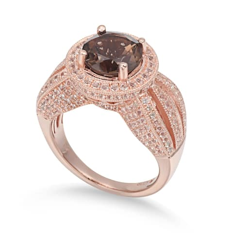 Suzy L. Sterling Silver 4.37 cttw Smoky Quartz Ring - Brown